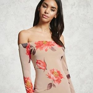 Forever 21 Taupe & Blush Off the shoulder dress